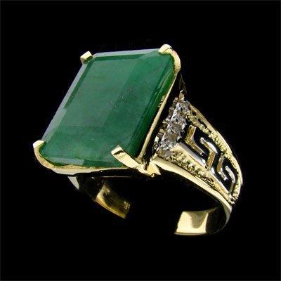 2528: APP: 25.8k 14 kt. Y/W Gold, 12.60CT Emerald Ring