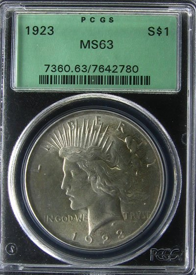 2536: 1923 Peace Type Silver Dollar Coin, Investment Po