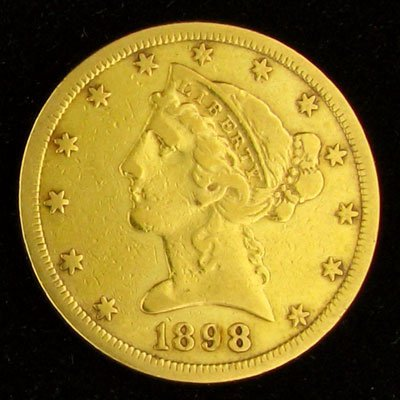 7: 1898-S $5 US Liberty Head Type Gold Coin, Potential