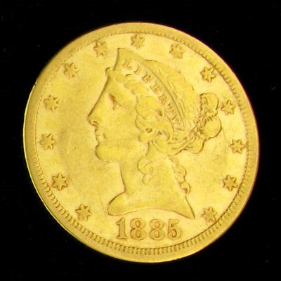 219: 1885-S $5 US Liberty Head Type Gold Coin, Potentia
