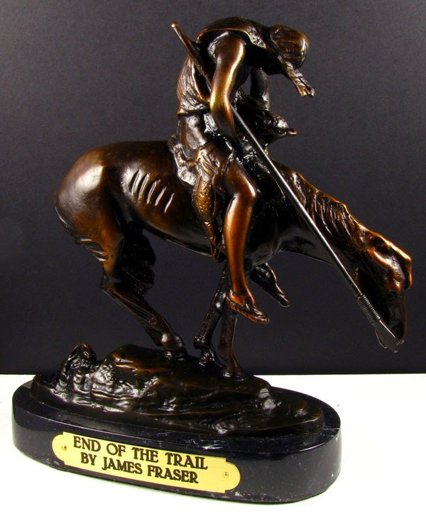239: James Earl Fraser Bronze- End of the Trail-Repro