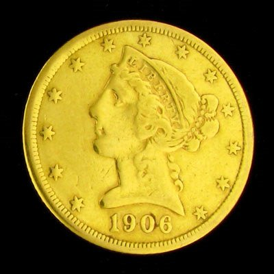 307: 1906-S $5 US Liberty Head Type Gold Coin, Potentia