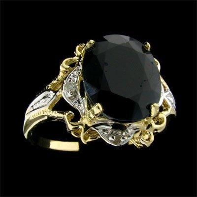 524: APP: 4.7k 14 kt. Gold, 4.29CT Sapphire and Diamond