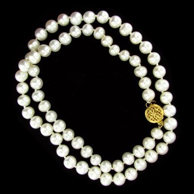 538: 19 kt. Gold, Pearl Necklace, Beautiful Gift!