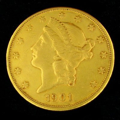 540: 1901 $20 US Liberty Head Type Gold Coin, Investmen