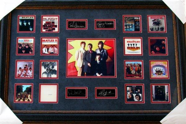 676: Rare The Beatles Collage Facsimile Autographed