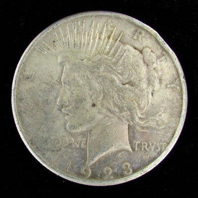 518: 1923-S US Peace Silver Dollar Coin, Investment Pot