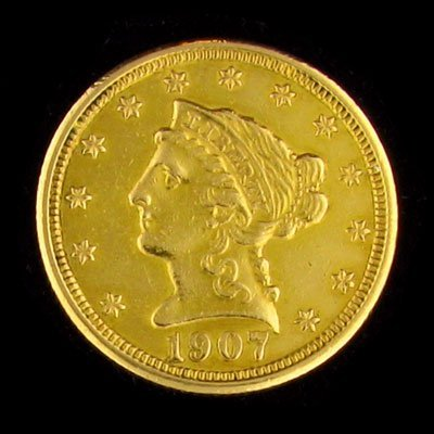 2515: 1907 $2.5 US Coronet Gold Coin, Potential Investm