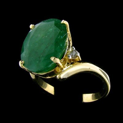 2703: APP: $14.2k 14 kt. Gold, 6.21CT Emerald and Diamo