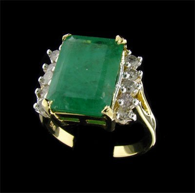2707: APP: $14.2k 14 kt. Y/W Gold, 5.40CT Emerald and D