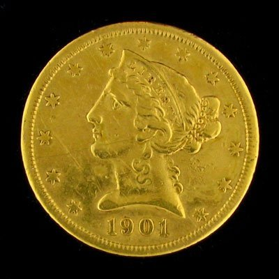 2719: 1901-S $5 US Liberty Head Type Gold Coin, Investm