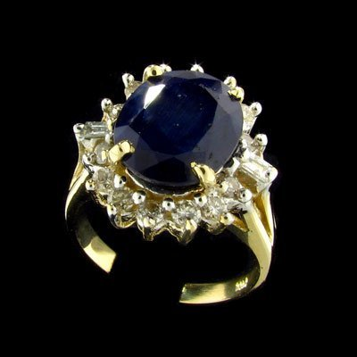 2727: APP: $13.3k 14 kt. Gold, 5.31CT Sapphire and Diam