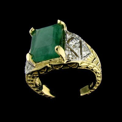 2735: APP: $7.3k 14 kt. Y/W Gold, 4.86CT Emerald and Di