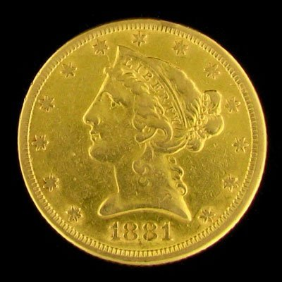 206: 1881 $5 US Liberty Head Type Gold Coin, Investment