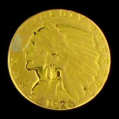 230: 1926 $2.5 US Indian Head Type Gold Coin, Investmen