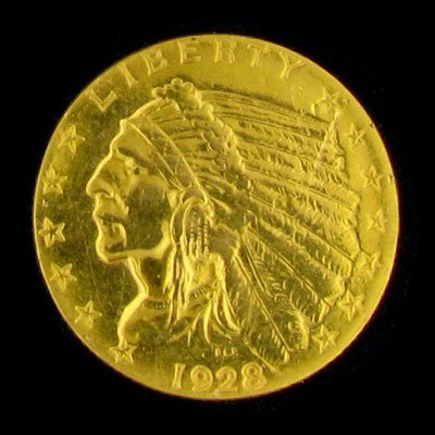 246: 1928 $2.5 US Indian Head Type Gold Coin, Investmen