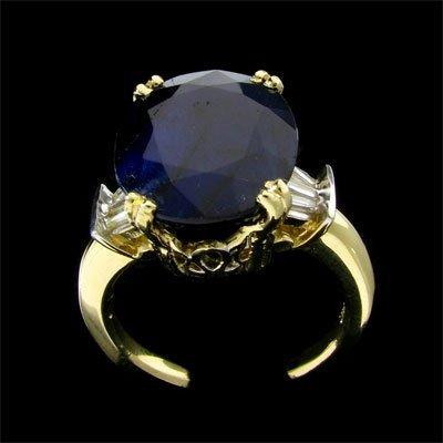 415: APP: $18.2k 14 kt. Gold, 9.98CT Sapphire and Diamo