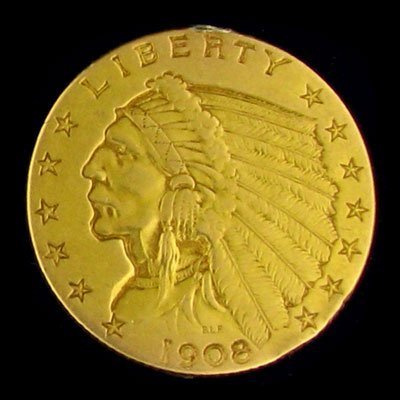 419: 1908 $2.5 US Indian Head Type Gold Coin, Investmen