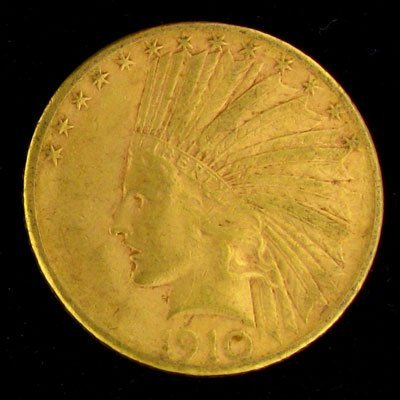 443: 1910-S $10 US Indian Head Type Gold Coin, Investme