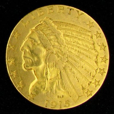 617: 1915-S $5 US Indian Head Type Gold Coin, Potential
