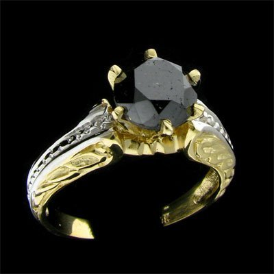 621: APP: $3.6k 14 kt. Y/W Gold, 2.12CT Rare Black Diam