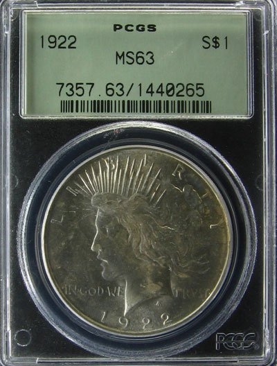 15: 1922 Peace Type Silver Dollar  Coin, Investment Pot