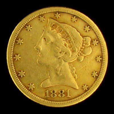 1249: 1881 $5 US Liberty Head Type Gold Coin, Potential