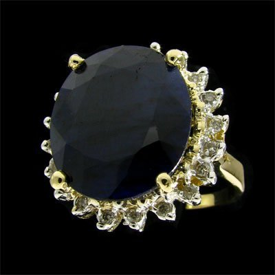 3010: APP: $11k 14 kt. Gold, 15.42CT Sapphire and Diamo