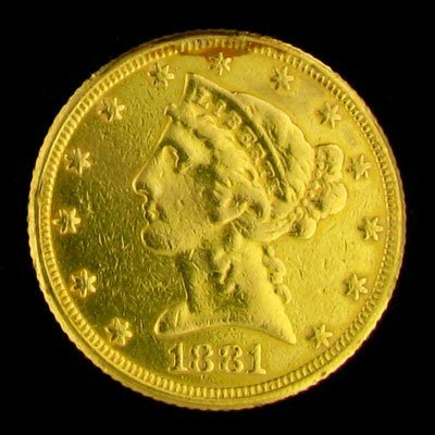 3014: 1881 $5 US Liberty Head Type Gold Coin