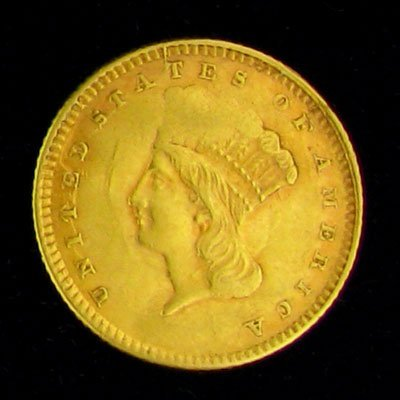 1498: 1861 $1 US Indian Head Type Gold Coin, Potential