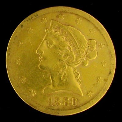 53: 1880-S $5 US Liberty Head Type Gold Coin, Investmen