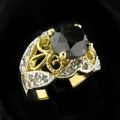 4529: RRV, APP: $9.3k 14 kt. Gold, 4.10CT Rare Black Di