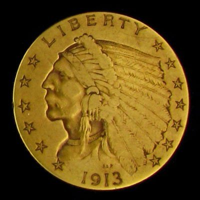4530: 1913 $2.5 US Indian Head Type Gold Coin - Potenti