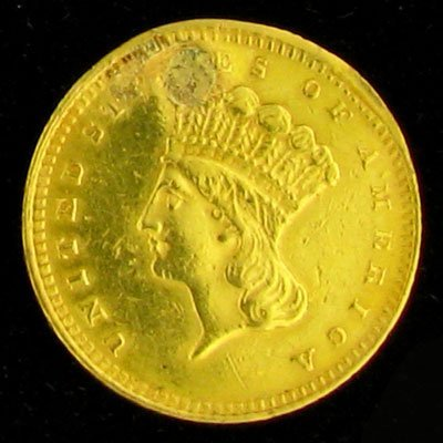 4831: 1862 $1 US Indian Head Type Gold Coin - Investmen