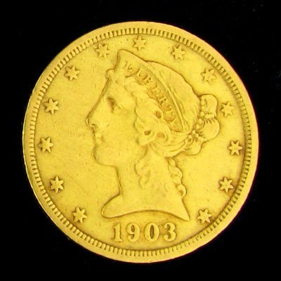 214: 1903-S $5 US Liberty Head Type Gold Coin - Investm