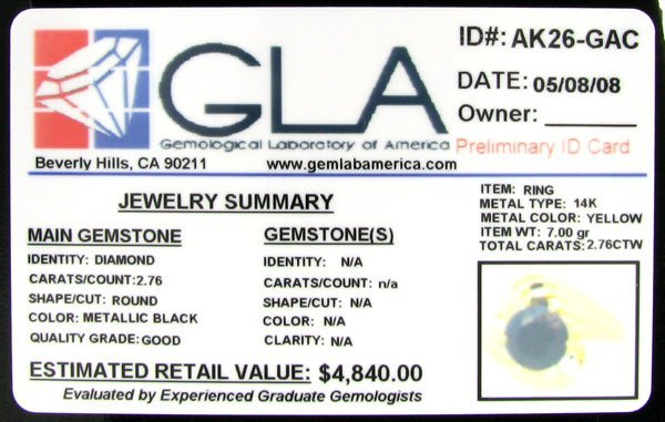 228: RRV APP: 4.8k 14 kt. Gold, 2.76CT Rare Blk Diamond - 2