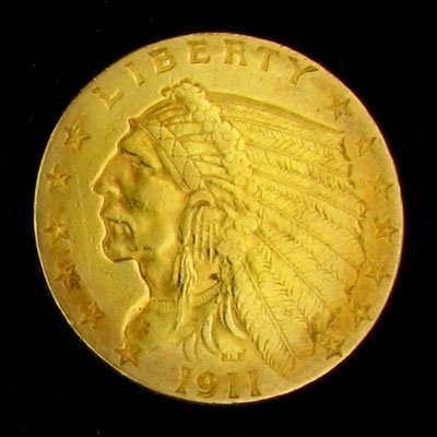 232: 1911 $2.5 US Indian Type Gold Coin - Investment Po