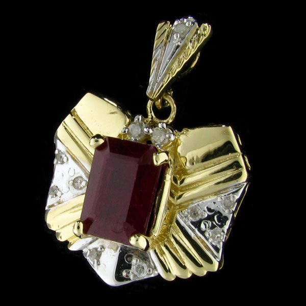 1512: RRV APP:$20.6k 14 kt. Gold, 5.12CT Ruby Pendant