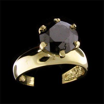 1518: RRV APP:$3.8k 14 kt. Gold, 2.55CT Rare Black Diam