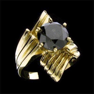 1522: RRV APP:$4.7k 14 kt. Gold, 2.65CT Rare Black Diam