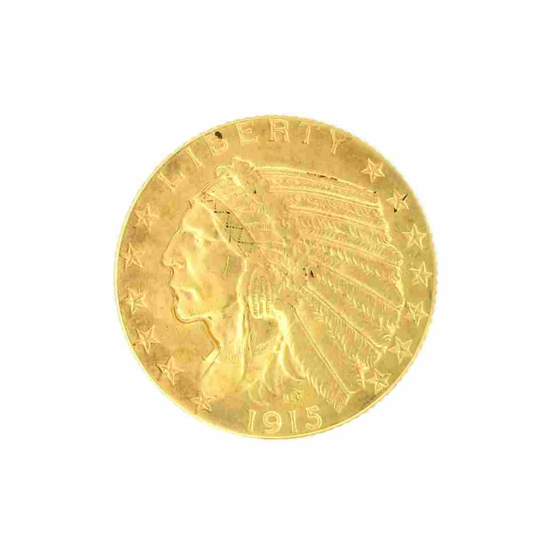 Extremely Rare 1915 $5 U.S. Indian Head Gold Coin