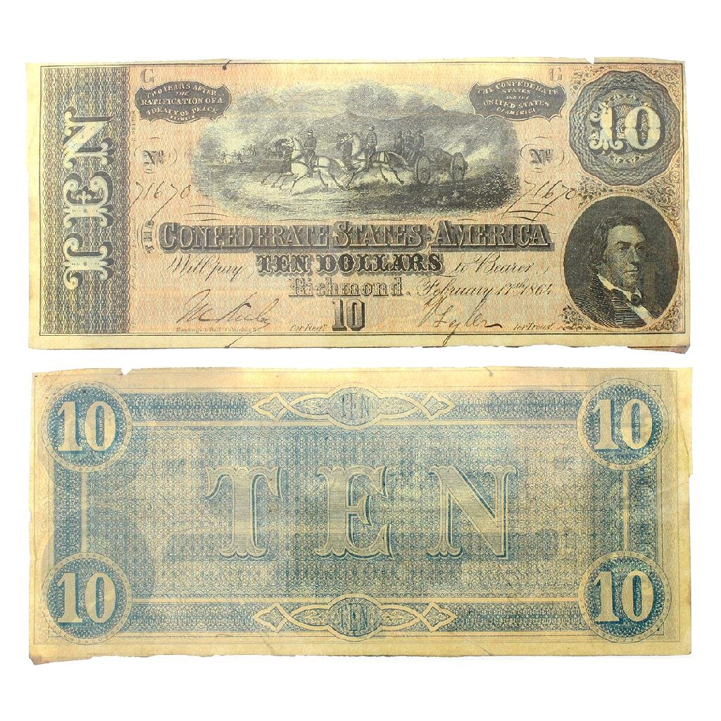 Rare 1864 US Confederate $10 Note Great Investment