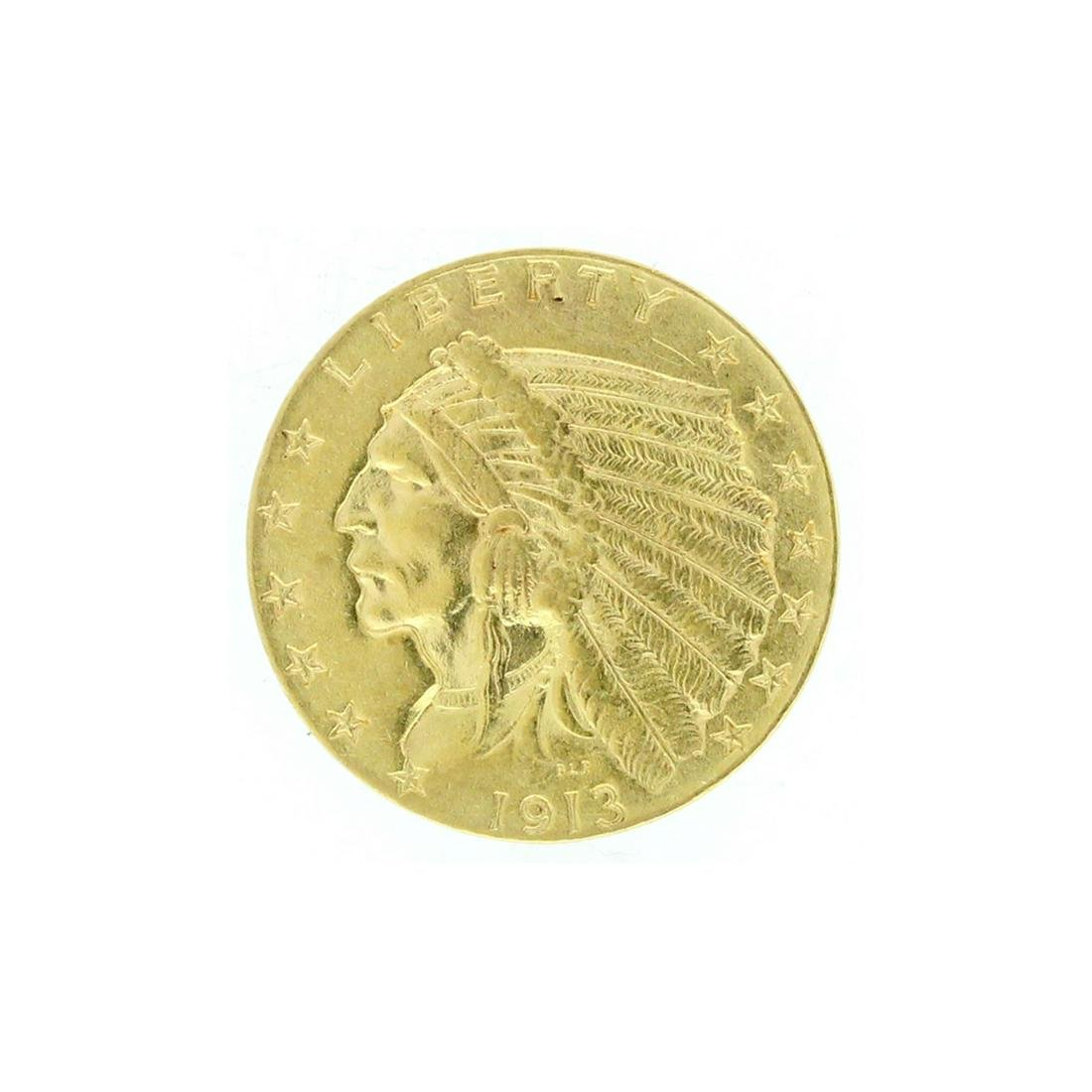 Rare 1913 $2.50 Indian Head Gold Coin Great Investment