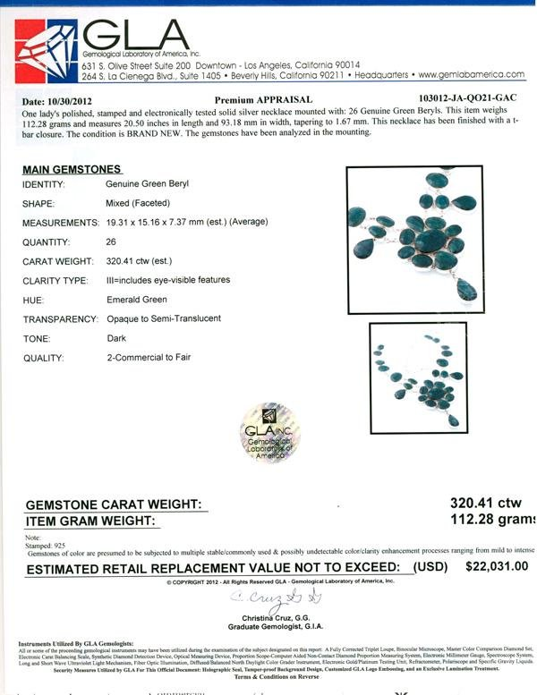 APP: 22k 320.41CT Mixed Cut Green Beryl and Sterling