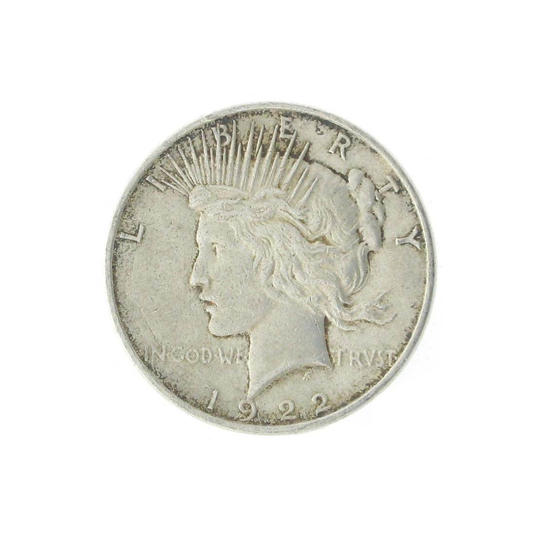Extremely Rare 1922 U.S. Peace Type Silver Dollar Coin
