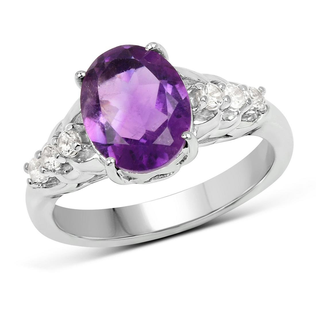 APP: 0.3k Gorgeous Sterling Silver 2.32CT Amethyst Ring