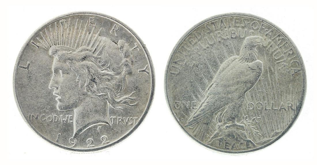 Rare 1922-S U.S. Peace Silver Dollar Coin - Great