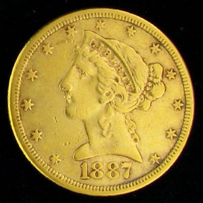 12: 1887-S $5 U.S. Liberty Head Type Gold Coin-Investme