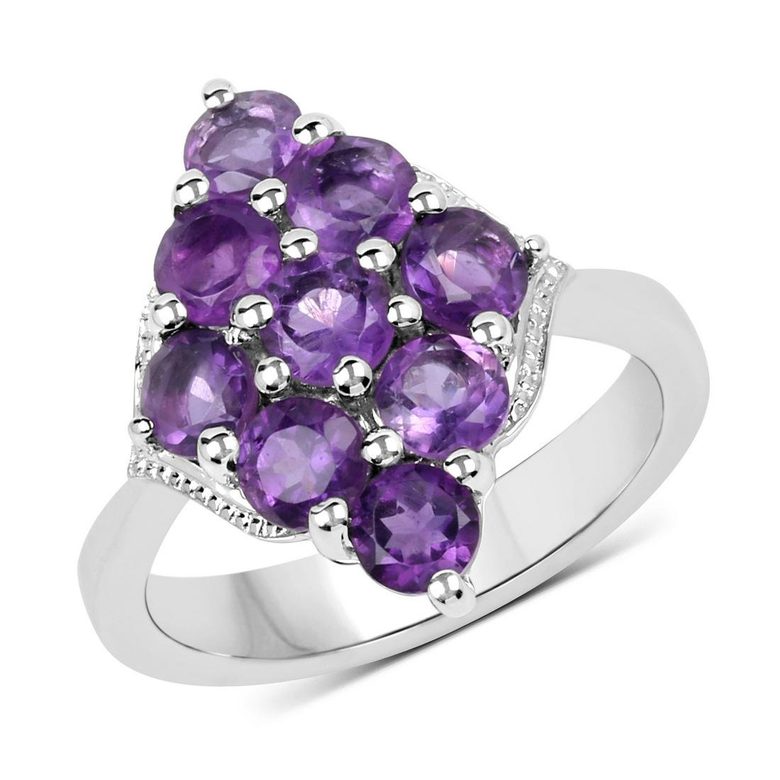 APP: 0.3k Gorgeous Sterling Silver 2.16CT Amethyst Ring