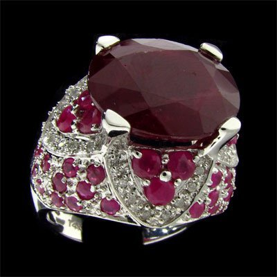 804: APP: 24k 14 kt. White Gold, 10.42CT Ruby and Diamo
